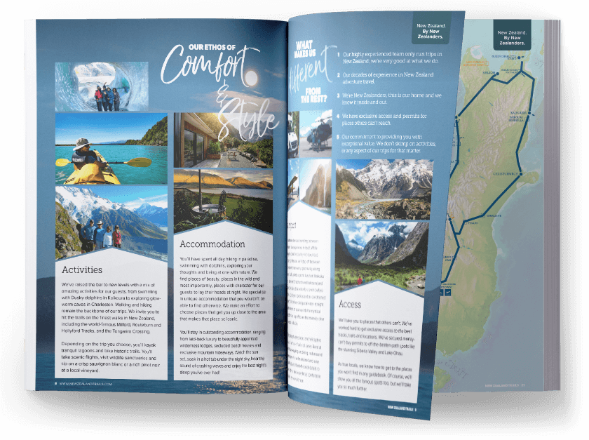 New Zealand hiking trails brochure to order2