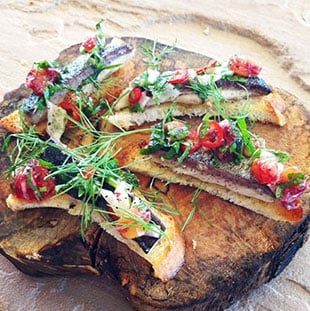 Delicious open sandwich appetisers on New Zealand Trails tour