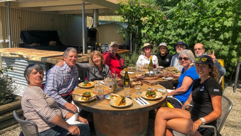 Lunch at Kinross Vineyard, Gibbston, Otago