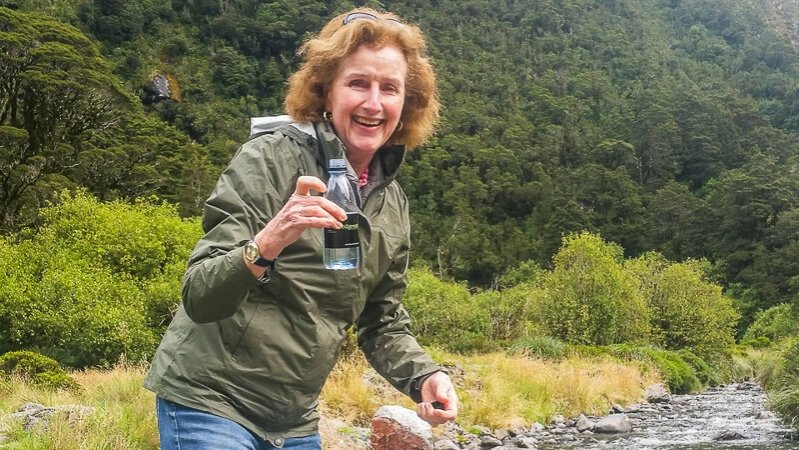 Drinking water from the river in Fiordland