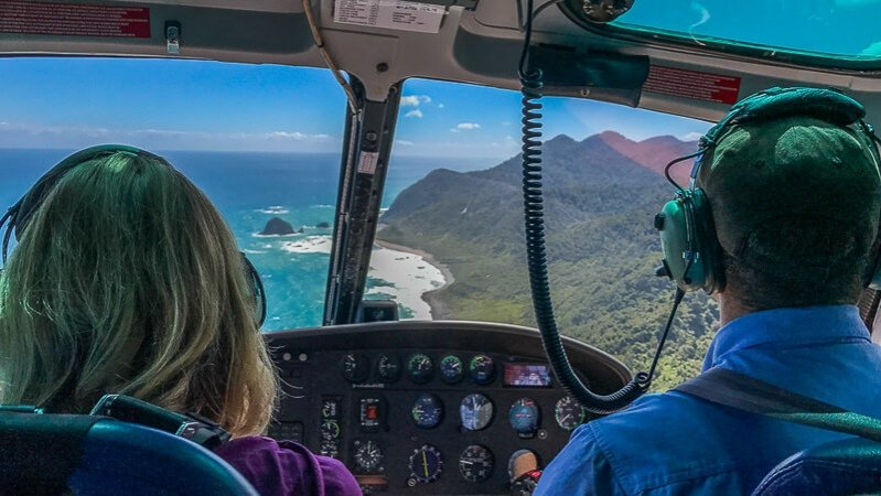 Helicopter tour of Fiordland, New Zealand