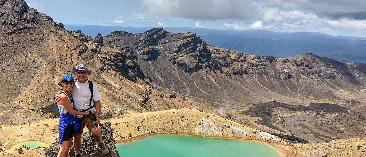 Hiking in New Zealand North Island on the Tongariro Crossing