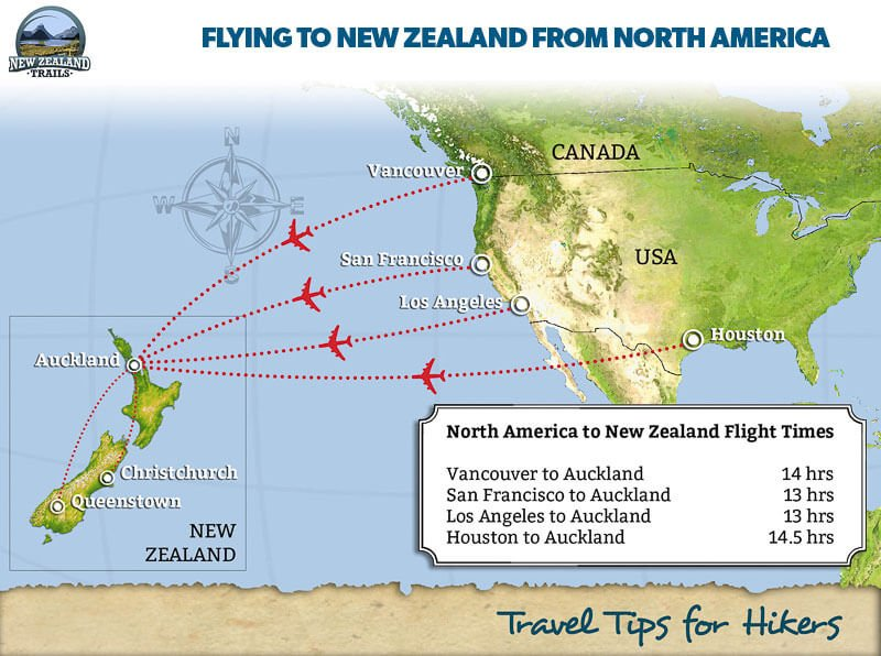 How to get to New Zealand – Tips for Hikers - New Zealand Trails Queenstown New Zealand Map on