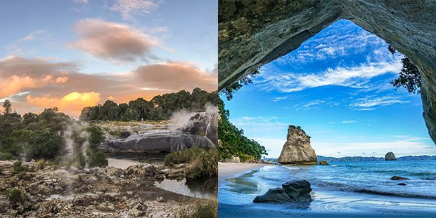 Te Puia geothermal and cultural attraction Rotorua, Cathedral Cove