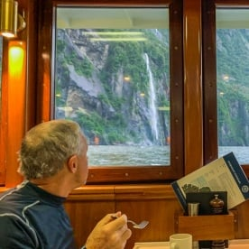 Dinner on the boat at Milford Sound, Fiordland New Zealand