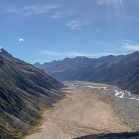 Helicopter view of the Hooker Valley, Canterbury New Zealand