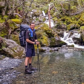 Guide at Nelson Lakes National Park river, Tasman New Zealand