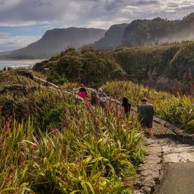 Walking at Punakaiki pancake rocks, West Coast New Zealand