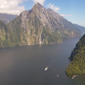 Milford sound view from helicopter, Milford Sound Fiordland Southland New Zealand