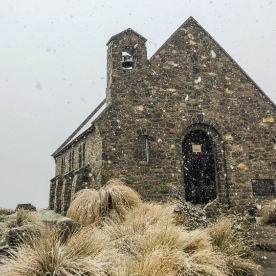 Church of the Good Shepherd under snow, Canterbury New Zealand