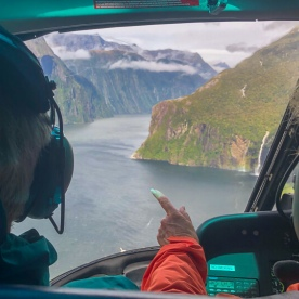 Helicopter tour above Milford Sound, Fiordland Southland New Zealand