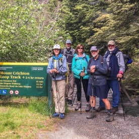 Group at Mt Crichton Loop Track, Otago New Zealand