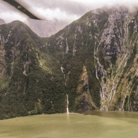Milford sound view from the helicopter, Fiordland New Zealand
