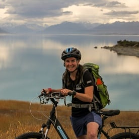 Guide biking at Lake Tekapo, Canterbury New Zealand