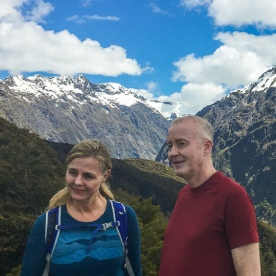Couple at Key Summit Lookout Trail Lake, Fiordland New Zealand