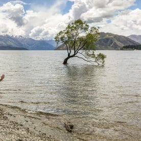 Happy lady at Lake Wanaka, Otago New Zealand