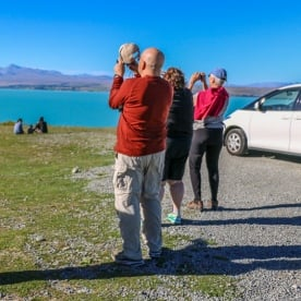 Group at Lake Pukaki, Canterbury New Zealand