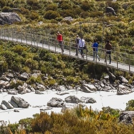 Passing bridge at Hooker Valley Track, Canterbury New Zealand