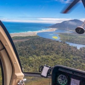 Helicopter view of Lake Martins Bay, Fiordland New Zealand