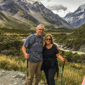 Couple posing at Aoraki Mount Cook, Canterbury New Zealand