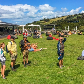 Group at Cable Bay Vineyards, Waiheke Island, Auckland New Zealand