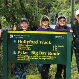 Group at Hollyford Track, Fiordland National Park Southland New Zealand