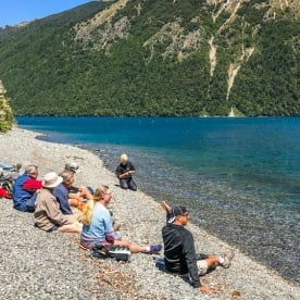Group at Lake Rotoiti Pebbel Beach, Tasman New Zealand