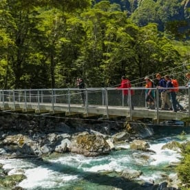 Crossing the Routeburn Track River, Otago New Zealand