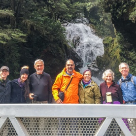 Group at Falls Creek Waterfall, Fiordland New Zealand