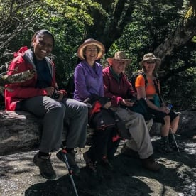 Happy Group at Routeburn Track, Otago New Zealand