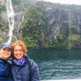 Mum and Daughter at Milford Sound, Fiordland National Park Southland New Zealand