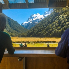 View from the Routeburn Flats Hut, Otago New Zealand