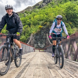 Biking on Kawarau bridge, Otago New Zealand