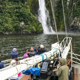 Approaching the Stirling Falls at Milford Sound, Fiordland National Park Southland New Zealand