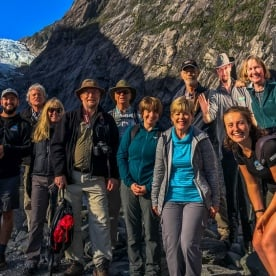 Group at Fox Glacier Valley Track, West Coast New Zealand