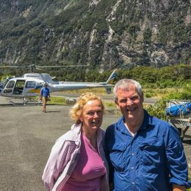 Helicopter Landing at Hollyford Valley, Fiordland National Park Southland New Zealand