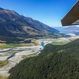 Scenic Flight above Makaroa River at  Mount Aspiring National Park, West Coast New Zealand