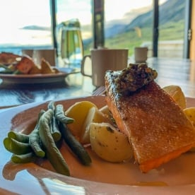 Salmon dinner at Lake Ohau, Canterbury New Zealand