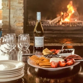Snack at the fireplace, Lake Ohau Quarters, Canterbury New Zealand