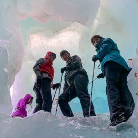 Group hiking the Tasman Glacier, Canterbury New Zealand