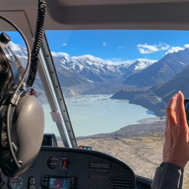 Helicoptertour above the Hooker lake Canterbury New Zealand