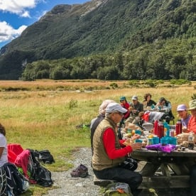 Picnic lunch at Routeburn track valley, otago new zealand