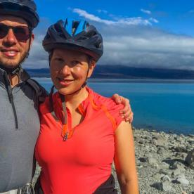 Couple biking around Lake Pukaki, Canterbury New Zealand