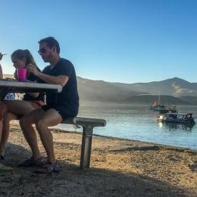 Eating at Akaroa, Canterbury New Zealand