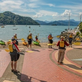 Practicing Kayaking at Marlborough Sounds, New Zealand