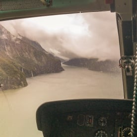 Helicopter tour at Milford Sound, Fiordland New Zealand