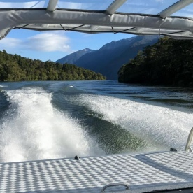 Jetboat on Lake McKerrow, Fiordland National Park Southland New Zealand
