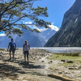 Walking at Milford Sound, Fiordland National Park Southland New Zealand