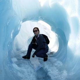 Inside an ice cave on Fox Glacier