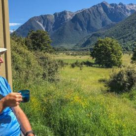 Coffee at Nelson Lakes National Park, Tasman New Zealand